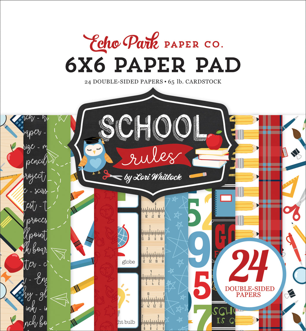 SCHOOL RULES 6X6 PAPER PAD by ECHO PARK