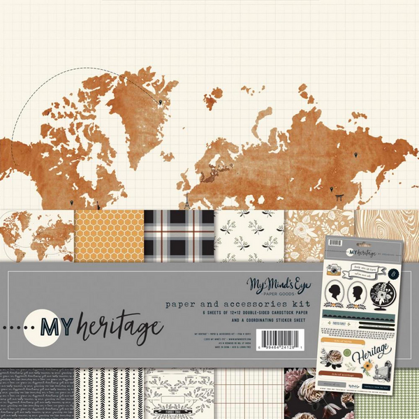 "My Heritage ~ My Mind's Eye Paper & Accessories Kit 12""X12"""