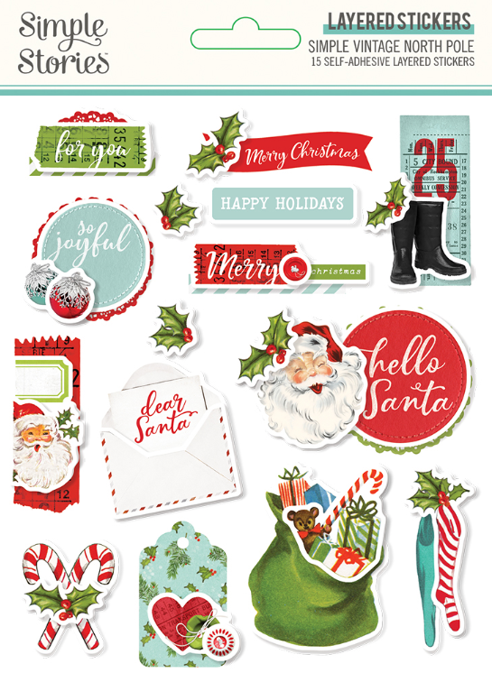 Simple Vintage North Pole Layered Stickers by Simple Stories