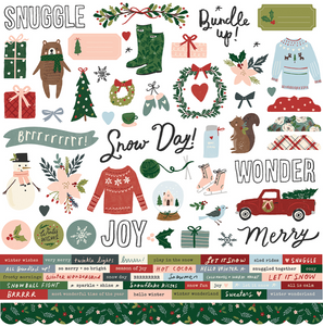 Winter Cottage Carstock Sticker by Simple Stories **SHIPPING AUGUST**