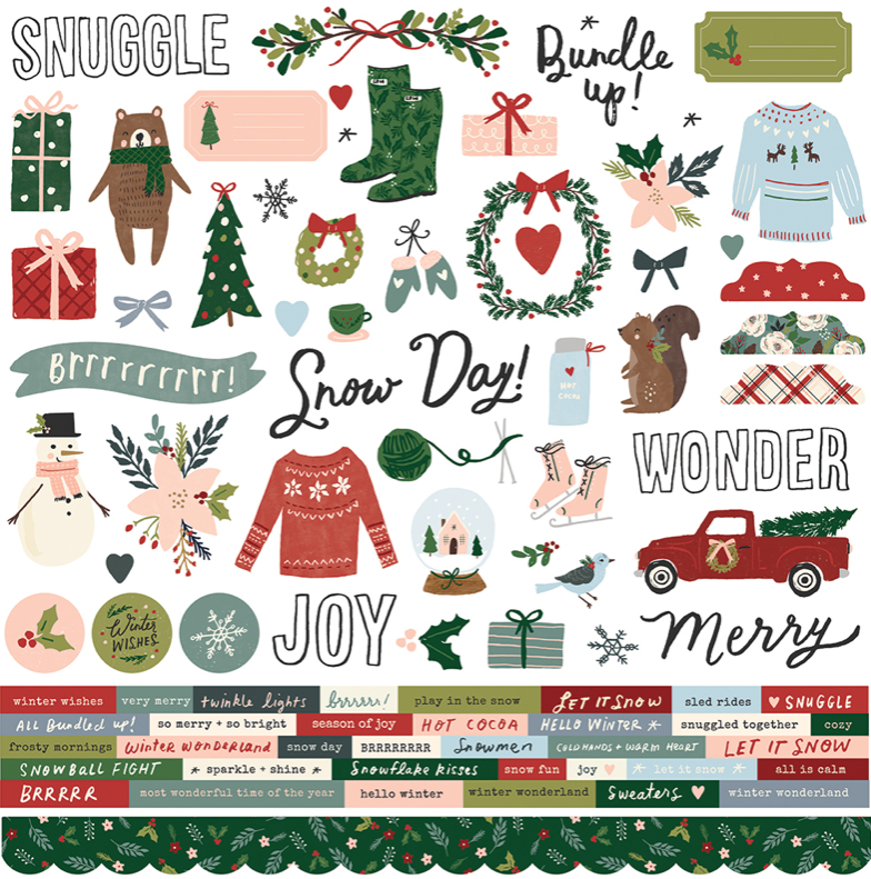Winter Cottage Cardstock Sticker by Simple Stories