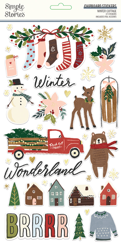 Winter Cottage 6x12 Chipboard Sticker by Simple Stories