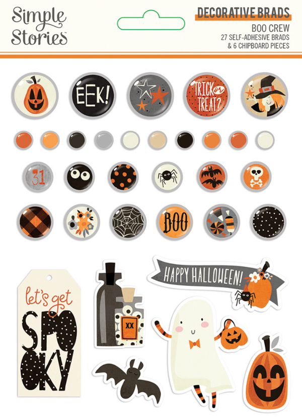 Boo Crew Decorative Brads by Simple Stories