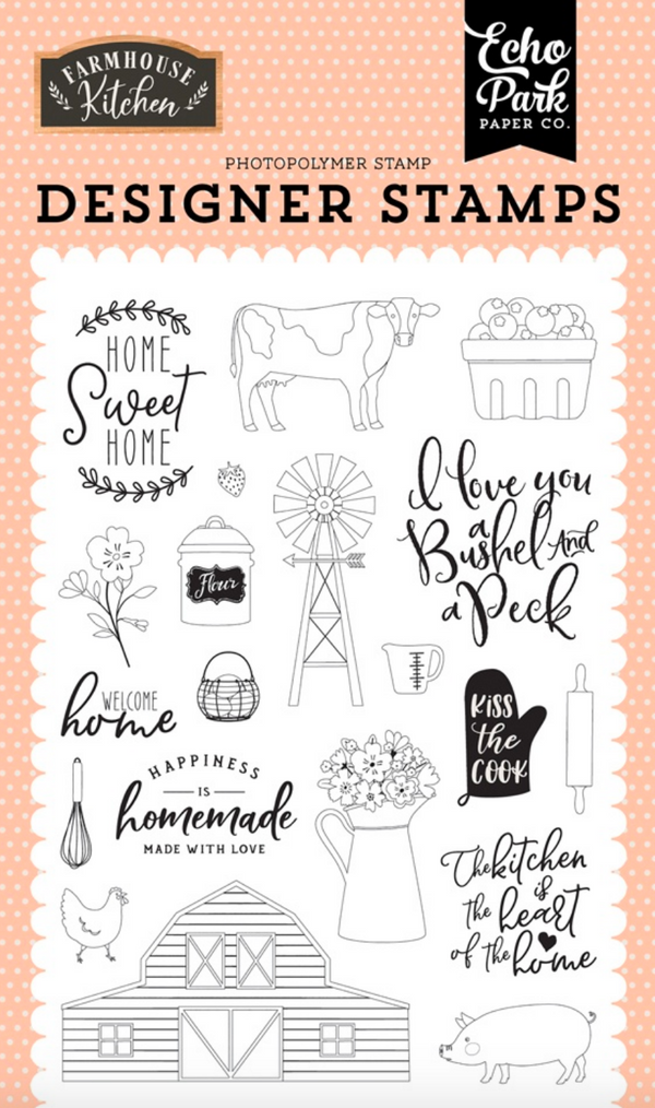 Farmhouse Kitchen Heart of the Home 4x6 Stamp Set by Echo Park