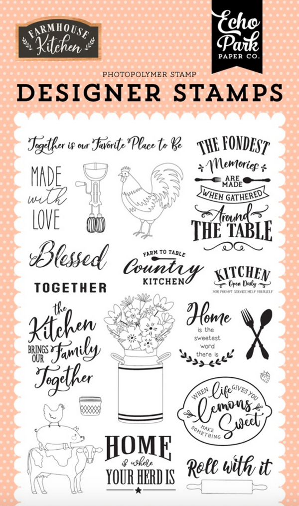Farmhouse Kitchen Made With Love 4x6 Stamp Set by Echo Park