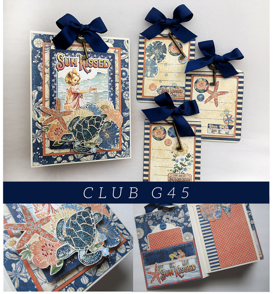 June Graphic 45 Monthly Class Series V6 Sun Kissed Tag & Pocket Album and 3 Gift Tags