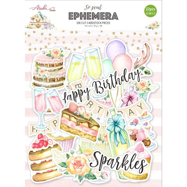 So Sweet Pink Happy Birthday Ephemera Pack by Asuka Studio