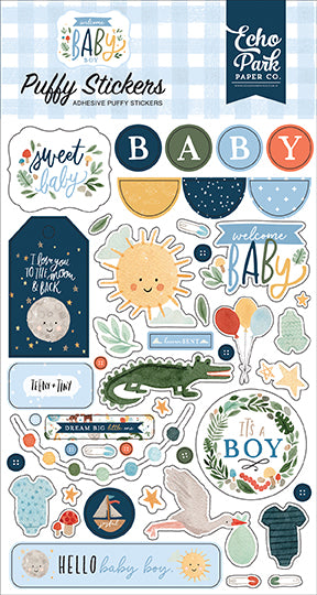 Welcome Baby Boy Puffy Stickers