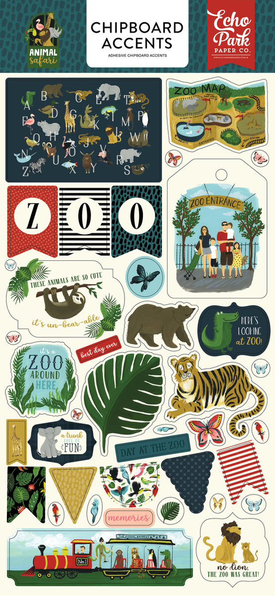 ANIMAL SAFARI 6X13 CHIPBOARD ACCENTS by ECHO PARK