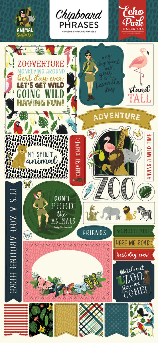 ANIMAL SAFARI 6X13 CHIPBOARD PHRASES