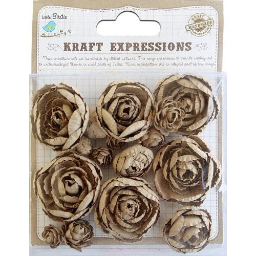 Little Bird Handmade Flowers, English Roses Kraft 16 Pieces