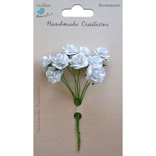 Little Birdie Handmade Flowers Open Roses White 6 pieces