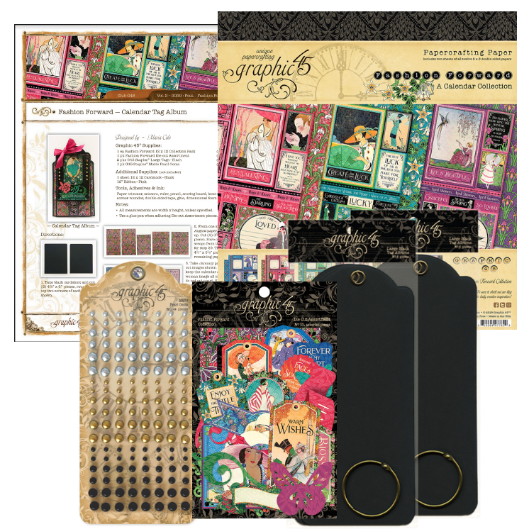 February Graphic 45 Monthly Class Series Vol 2 2020 - Calendar Tag Album & Treat Box
