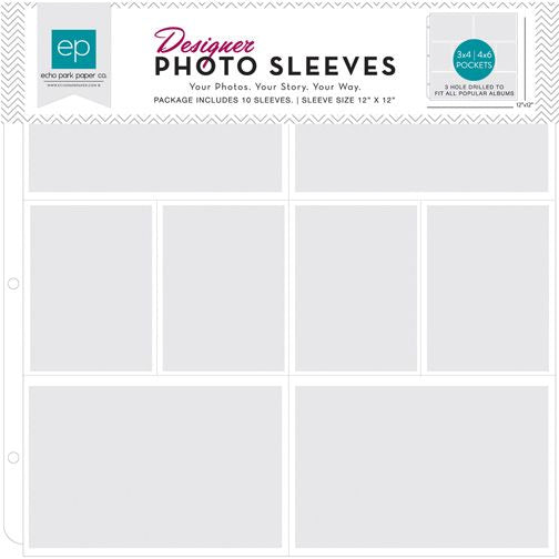 Echo Park 12 x 12 Designer Photo Sleeves - 3x4 and 4x6 pockets