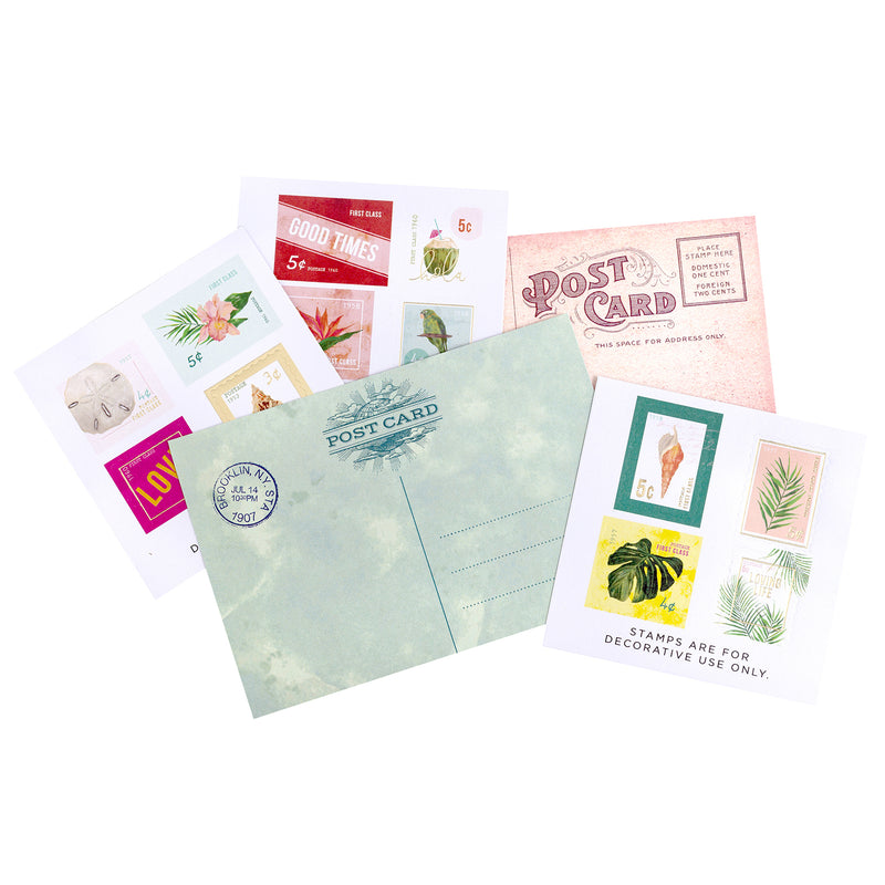 Heidi Swapp Art Walk Postcards & Stamps 18/Pkg