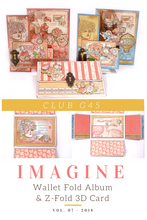 July Graphic 45 Monthly Class Series V7 Imagine Wallet Fold Album & 3D Z-Fold Cards