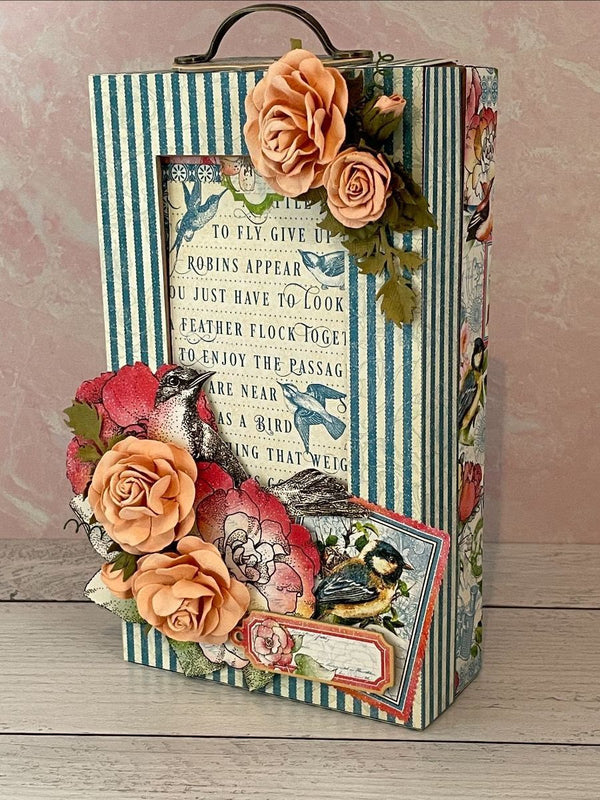 April Graphic 45 Monthly Class Series Vol 4 2021 Bird Watcher Shadow Box & Nesting Wallet Album