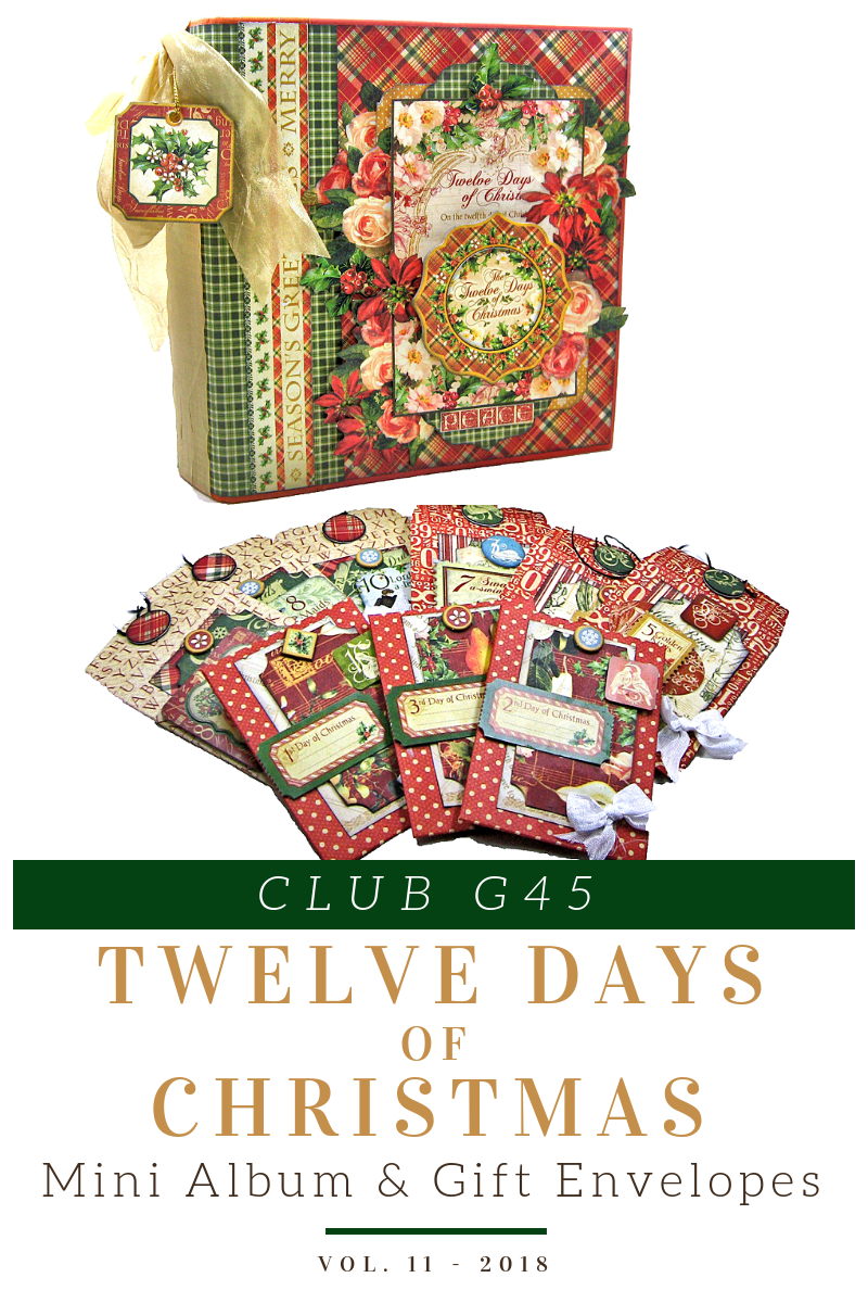 November Graphic 45 Monthly Class Series Vol 11 - Mini Album & Gift Envelopes Featuring 12 Days of Christmas