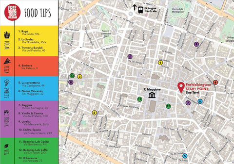 Food Tips Map Free Walking Tour Bologna