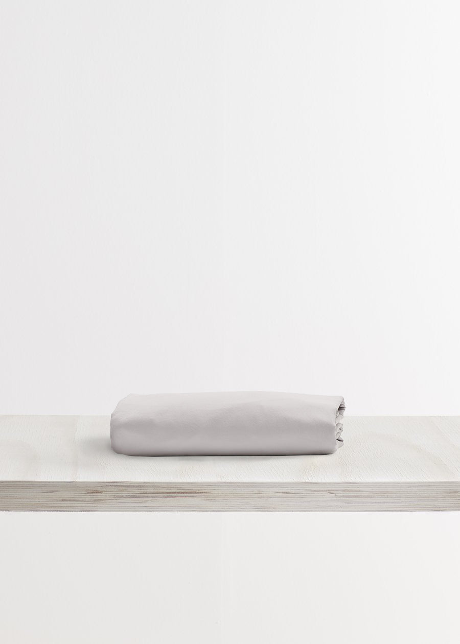 Relaxed Cotton Fitted Sheet in Dove Grey by Bedfolk