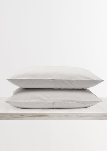 Relaxed Cotton Pillowcases in Dove Grey by Bedfolk