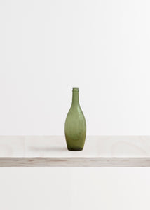 Medium Green Glass Rounded Bottle Vase