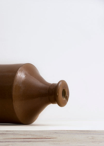 Large Brown Stoneware Ink Bottle Vase