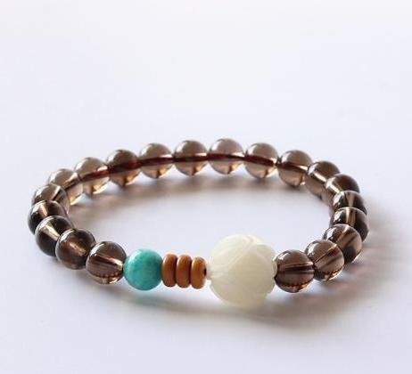 LiveforBlu Smoky Crystal and Wood Bracelet