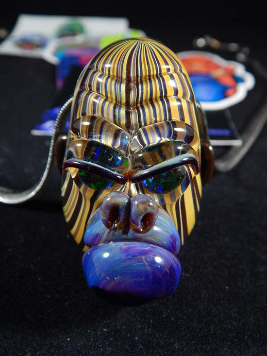 Firefly Glass Stripped Gorilla Head Pendant