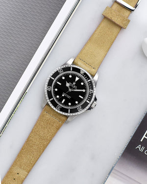 rolex submariner Beige Suede Watch Strap