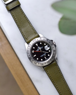 Rolex explorer 16570 with green leather strap