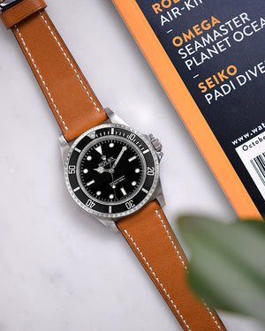 rolex explorer with Honey Smooth Calfskin Watch Strap