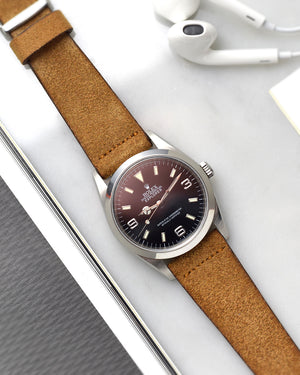 Suede Brown Watch Strap for rolex explorer 1