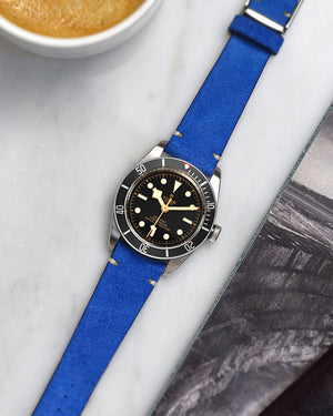Suede Cobalt Blue Watch Strap for tudor black bay black