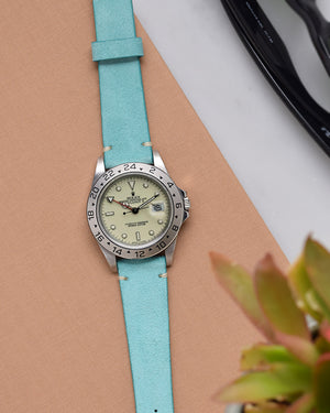 Turquoise Suede Watch Strap for rolex explorer polar