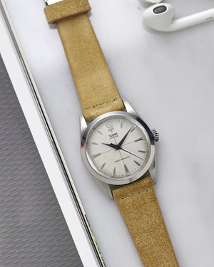 tudor on Beige Suede Watch Strap