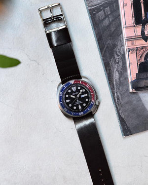 seiko pepsi Black Single-Piece Shell Cordovan Watch Strap