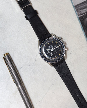 speedmaster on Black Smooth Watch Strap