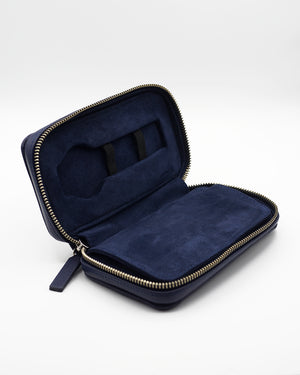 Blue Leather Pouch for Two Watches