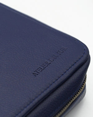 Blue Leather Folio For Ten Watches
