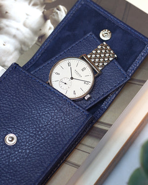 Blue Leather Watch Pouch