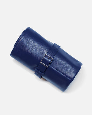 Blue Leather Roll For Six Watches
