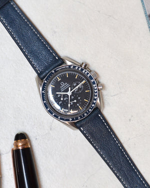 omega speedmaster Blue Leather Watch Strap