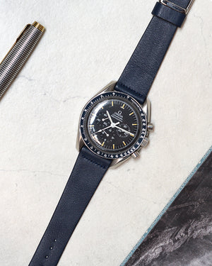 speedmaster on Blue Leather Watch Strap