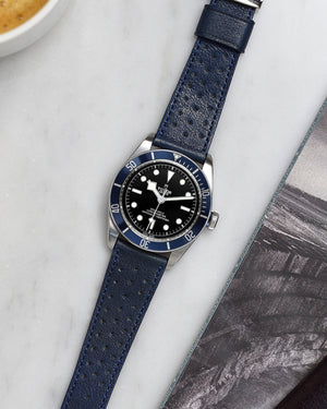 tudor black bay blue Racing Leather Watch Strap