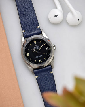 rolex explorer 1 with blue leather watch strap