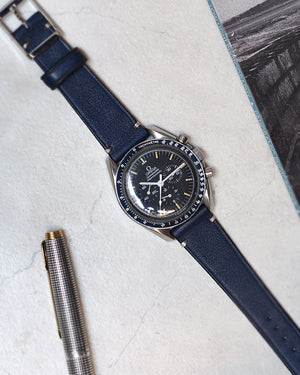 speedmaster with Blue Leather Watch Strap