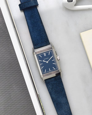 JLC reverso blue on blue suede strap