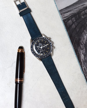 omega moonwatch on suede watch strap