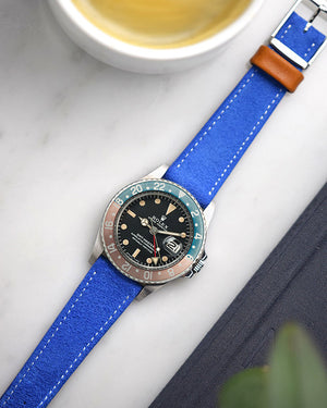 Blue Suede Watch Strap for rolex pepsi